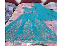 Turquoiuse and silver embroidery blue indian wedding reception dress size 10
