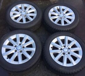 "16"" Genuine Mercedes A Class Alloy Wheels & Tyres 205/55R16 5x112 Fits C B E V Vito Viano W176"