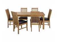 Ex-display Ashdon Solid Wood Table & 6 Paris Chairs - Black