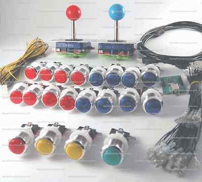 Arcade Control Panel LED Illuminated Bundle Kit 2 Joysticks, 20 Buttons USB MAME