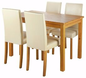 Ashdon 120cm Dining Table & 4 Chairs - Oak Stain/Cream (NEW)
