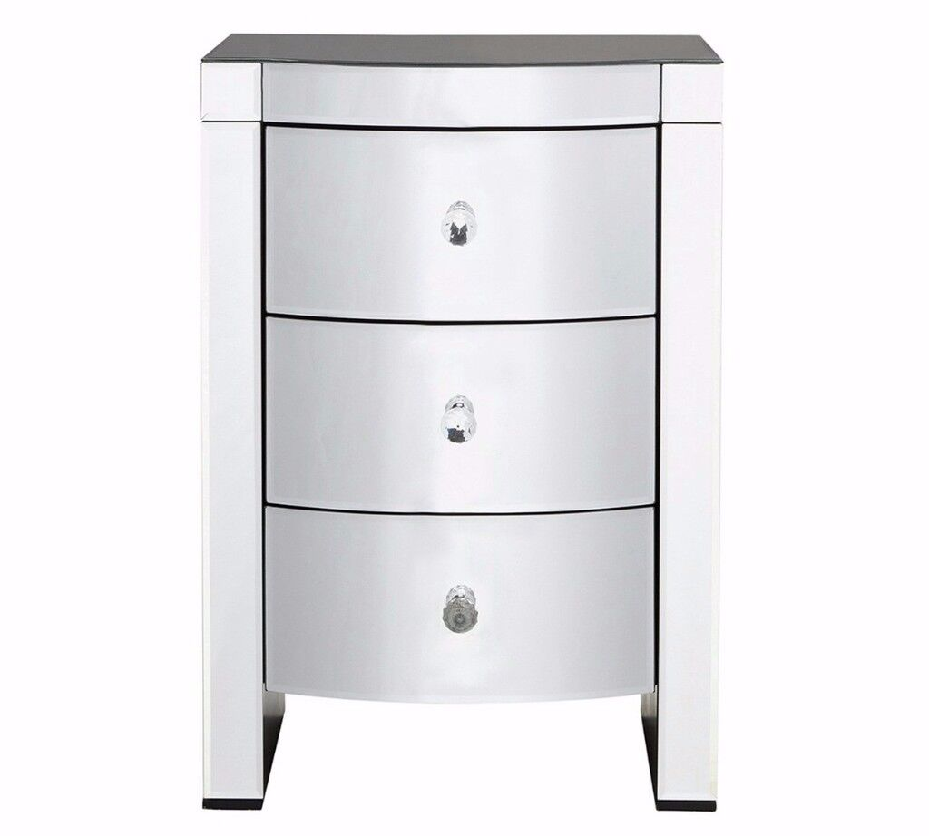 Ex Display Canzano 3 Drawer Bedside Chest - Mirrored