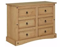 Ex display Puerto Rico 3 + 3 Drawer Chest - Light Pine