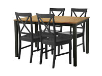 Eclipse Extendable Dining Table & 4 Cross Back Chairs-Black