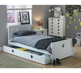 Stars Single Cabin Bed with Drawer - White