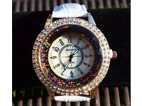 NEW Women's chunky rose gold, rhinestone watch with pearlescent face & white faux leather strap