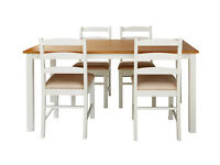 Collection Hamstead Dining Table and 4 Chairs - Two Tone