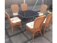 RATTAN GARDEN CHAIRS AND DINING TABLE
