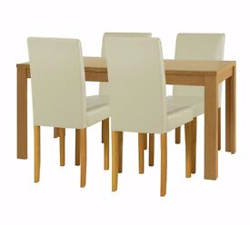 ex display Penley Oak Extendable Dining Table & 4 Chairs Cream