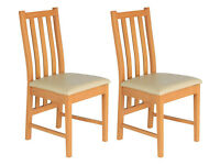 Ascot Pair of Cream Oak Effect Dining Chairs