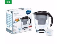 ***NEW UNUSED*** BRITA ELEMARIS 35 XL COOL WATER FILTER JUG & CARTRIDGE, BLACK (Still in plastic)