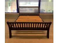 Solid wood dark sleigh king size bed frame
