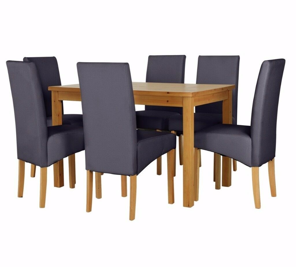 Ex-Display Lincoln Solid Wood Table & 6 Skirted Chairs - Charcoal