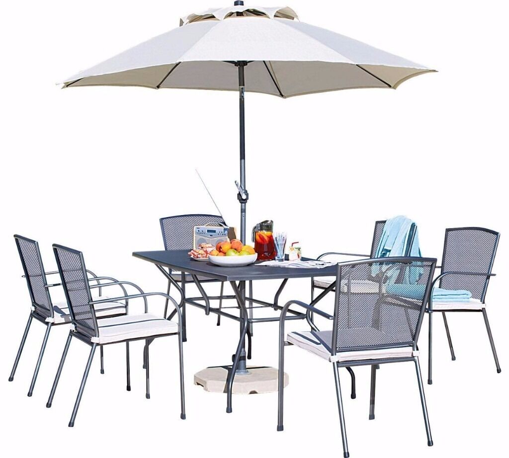 Used Garden Table With Chairs-Collection Miami 6 Seater