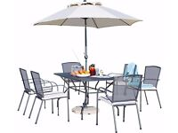 Used garden table with chairs-Collection Miami 6 Seater Mesh Patio Furniture Set