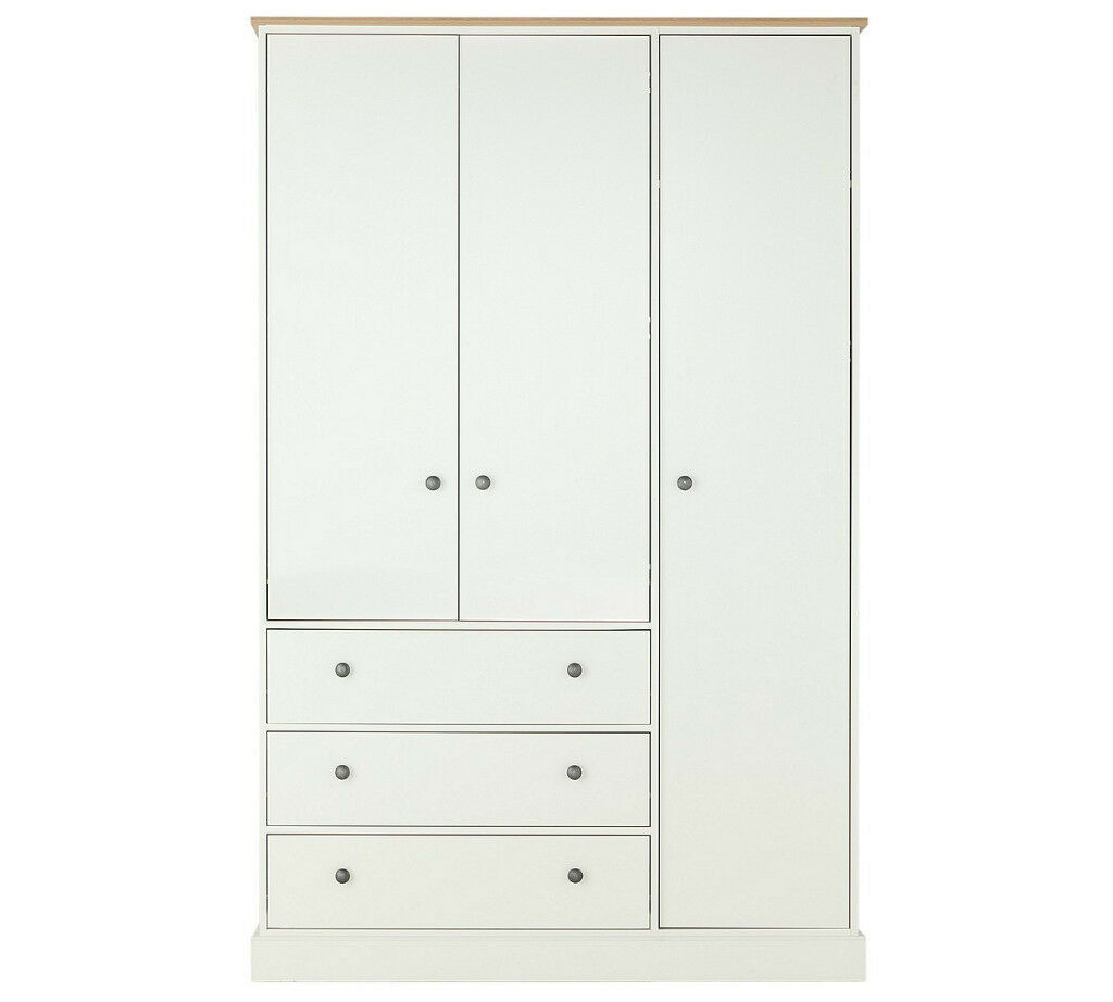 Collection Kensington 3 Dr 3 Drw Wardrobe -Oak Effect&White