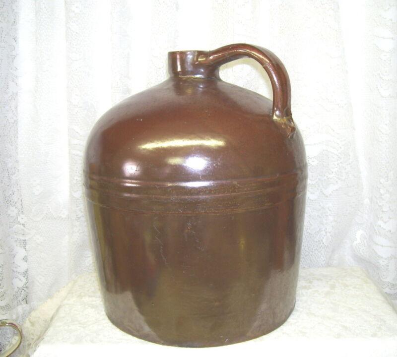 Large Antique Round Brown Two Gallon Stoneware Jug