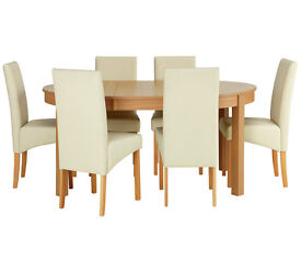 Massey Dining Table & 6 Chairs-Wood Effect/Cream