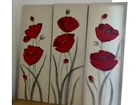Poppy Calico Wall Art, Red, Set of 3.