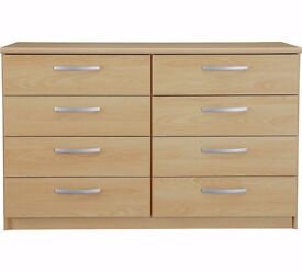 Ex-display Hallingford 4+4 Drawer Chest - Beech Effect