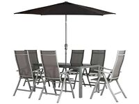 Malibu 6 Seater Black Glass /Steel Garden Table (table only) set cost over £400