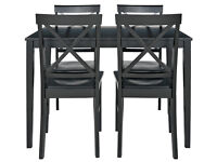 HOME Jessie Dining Table and 4 Solid Wood Chairs - Black