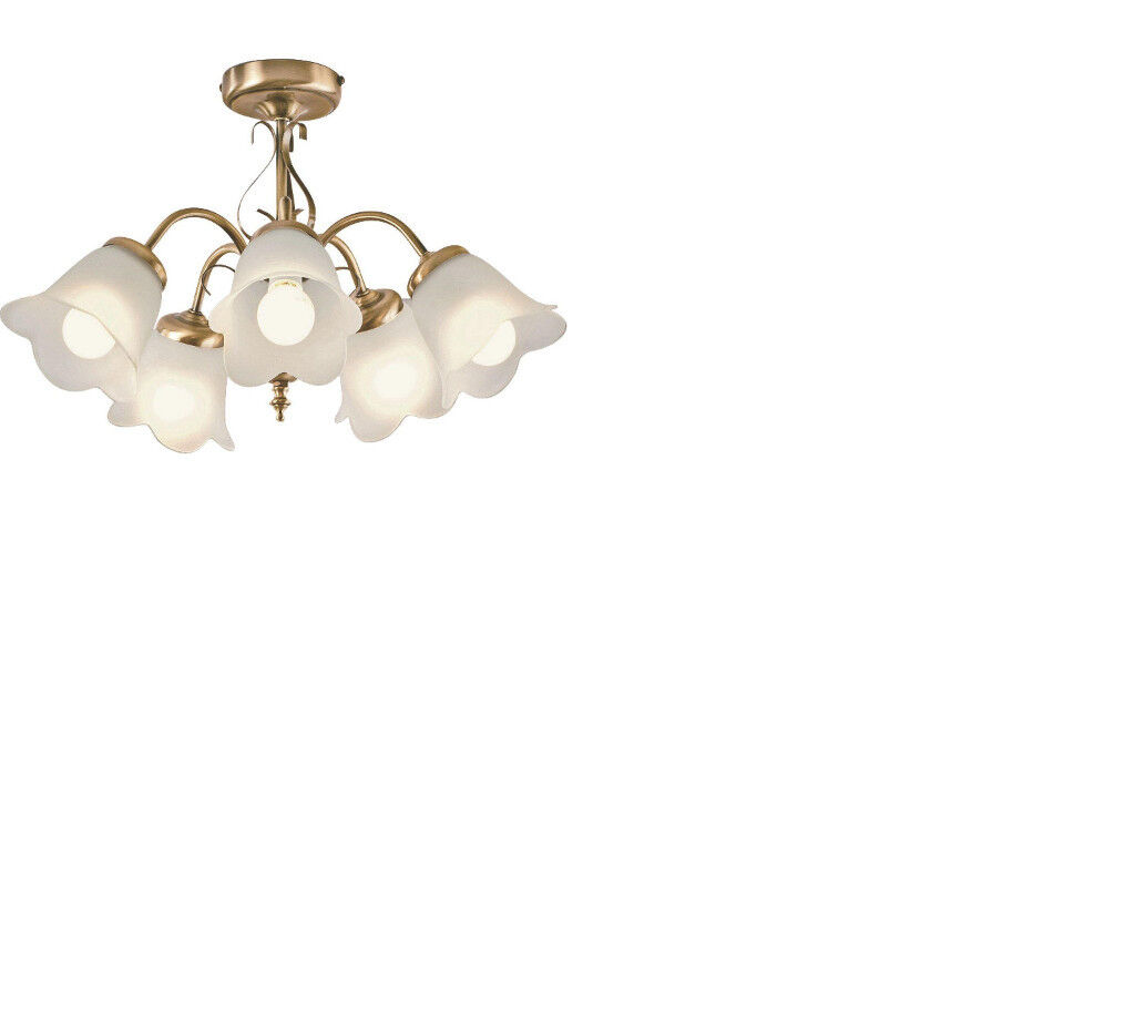 5 Light ceiling Fitting Antique Brass