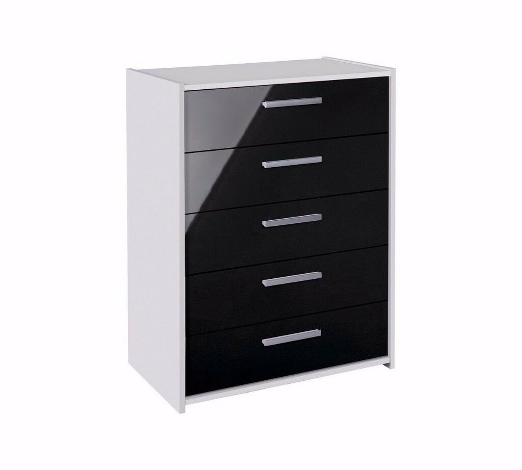 Ex Display Sywell 5 Drawer Chest - White & Black Gloss
