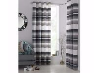curtains grey banded W117xD182cm