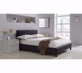 GET IT NOW - BRAND NEW DOUBLE AND KINGSIZE LEATHER BED WITH SEMI ORTHOPEDIC MATTRESS
