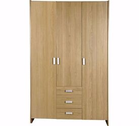ex display Capella 3 Door 3 Drawer Wardrobe - Oak Effect