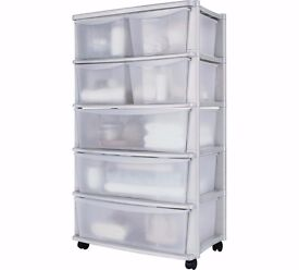HOME 7 Drawer Plastic Wide Tower Storage Unit - White 261.
