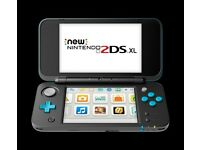 Nintendo 2DS XL Black Turquoise console slightly used with Pokemon Sun game