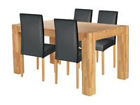 Collection Indiana 150cm Oak Table & 4 Chairs - Black