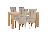 Heart of House Alston Oak Veneer Table & 4 Chairs - Check