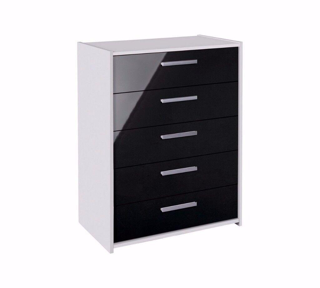 Ex display Sywell 5 Drawer Chest - White & Black Gloss