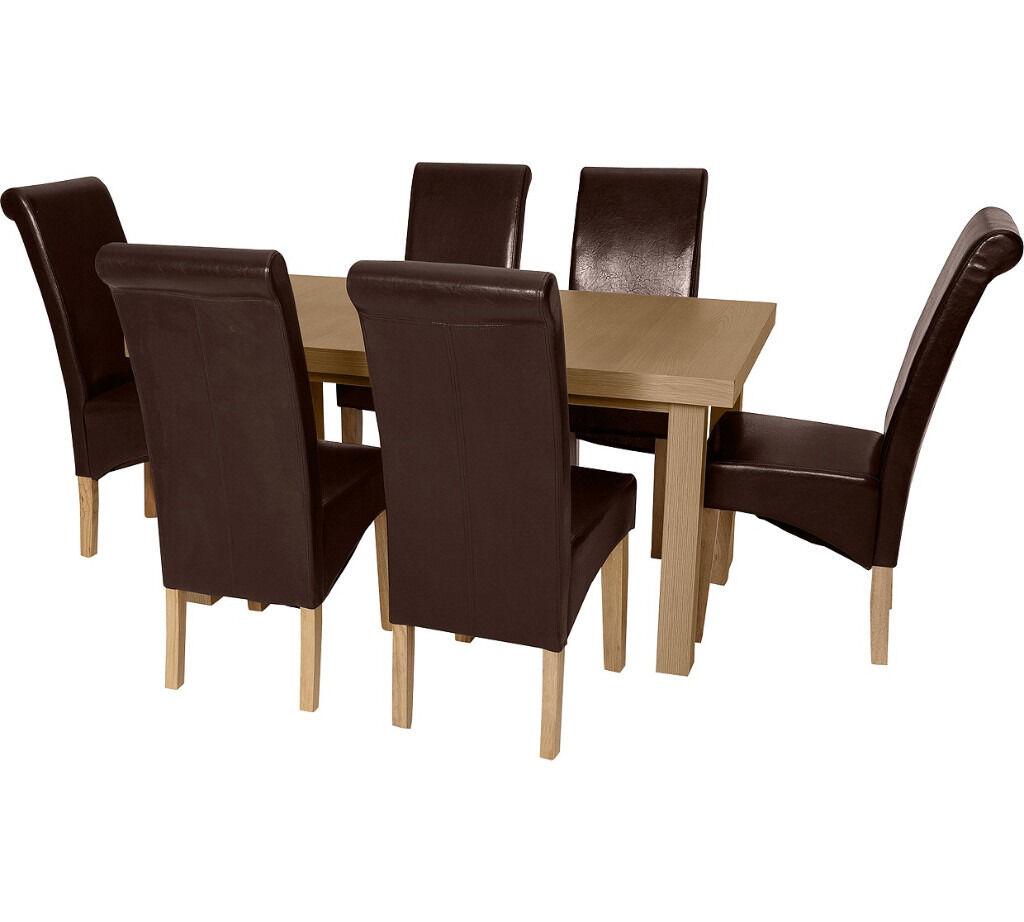 Wickham Dining Table & 6 Chairs -Oak Veneer/Choc