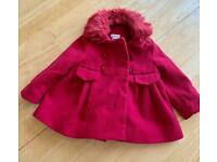 Monsoon red baby coat age 6-12 mths