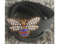 Gucci Queen Margaret Black Leather Belt