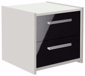 Ex-display Sywell 2 Drawer Bedside Chest - White & Black Gloss