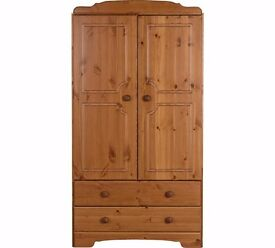 Ex display Nordic 2 Door 2 Drawer Short Wardrobe - Pine