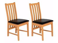 8 Ascot Pair of Black Oak Effect Dining Chairs (4 paires)
