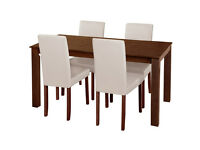 HOME Ashdon Solid Wood Table & 4 Mid Back Chairs - Cream