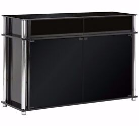 Ex display Matrix 2 Door 2 Drawer Large Sideboard - Black Glass