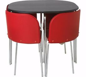 Hygena Amparo Dining Table and 4 Chairs - Black/Red 240.