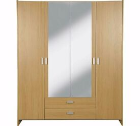 Ex display Capella 4 Door 2 Drawer Mirrored Wardrobe - Oak Effect