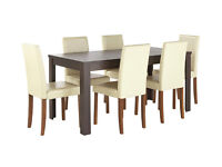 HOME Penley Pentley Walnut Ext Table & 6 Chairs Cream