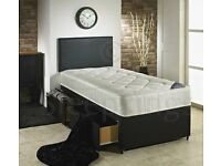 Single faux leather divan bed with 2 drawer +matress+ free headboard