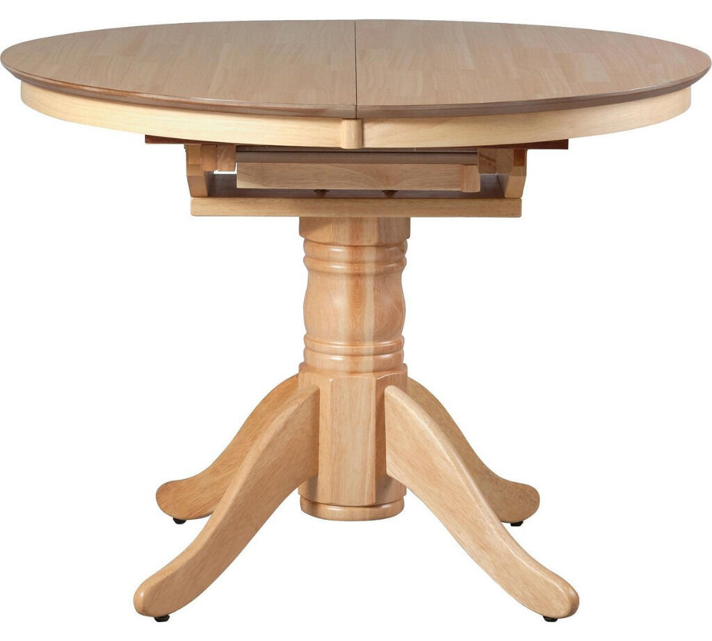 """Collection Kentucky Extendable Dining TableNaturalin Coventry, West MidlandsGumtree - It is new in box. Perfect condition. Please call or message me if you want to get more info on it. """"Table size H76, L100, . Diameter 100cm. Size of table extended L133cm. Integral table extension. Solid wood table . Weight of table 31.8kg. Self..."""