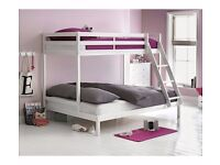 HOME Wooden Trio Bunk Bed with Ashley Mattress - White
